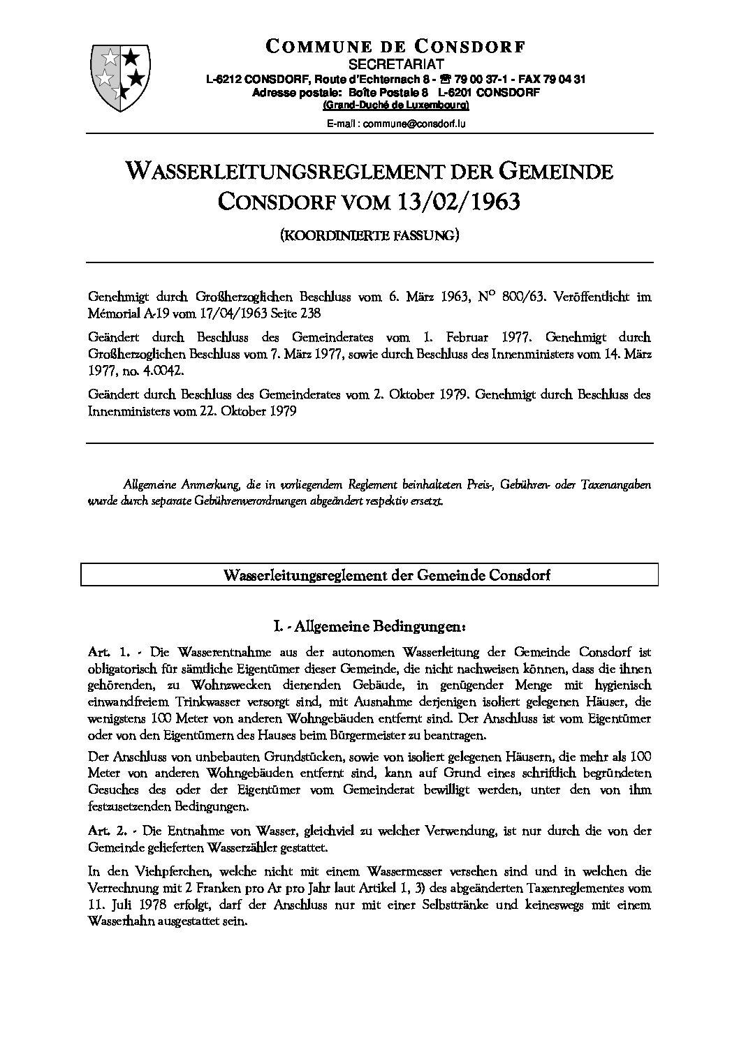 Wasserleitungsreglement
