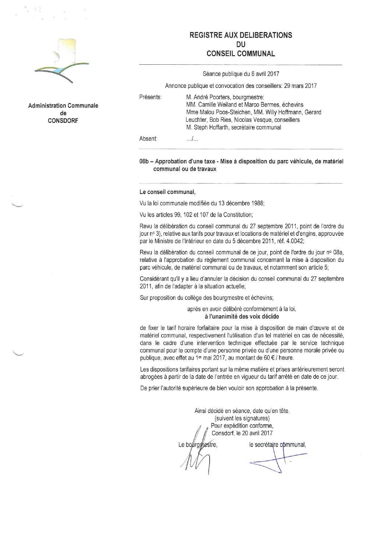 Taxe de mise à disposition pour matériel, véhicules et travaux