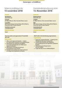 2018-11-13 Rapport de la séance du Conseil Communal