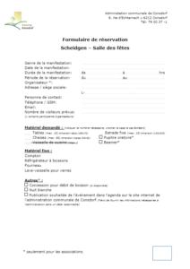 Demande de réservation de la salle de fête Scheidgen