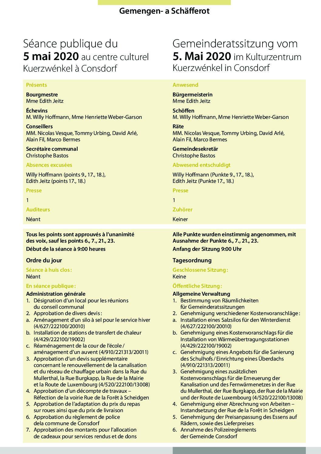 2020-05-05 Rapport de la séance du Conseil Communal