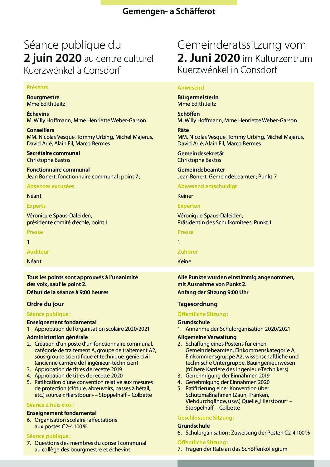 2020-06-02 Rapport de la séance du Conseil Communal