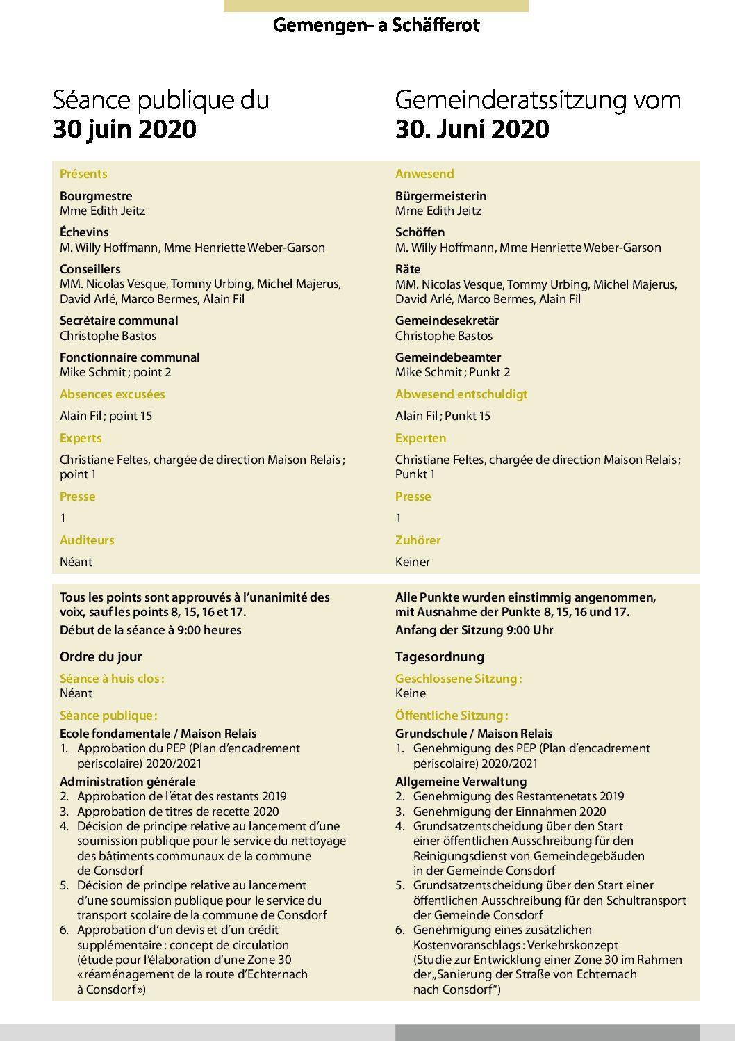 2020-06-30 Rapport de la séance du Conseil Communal