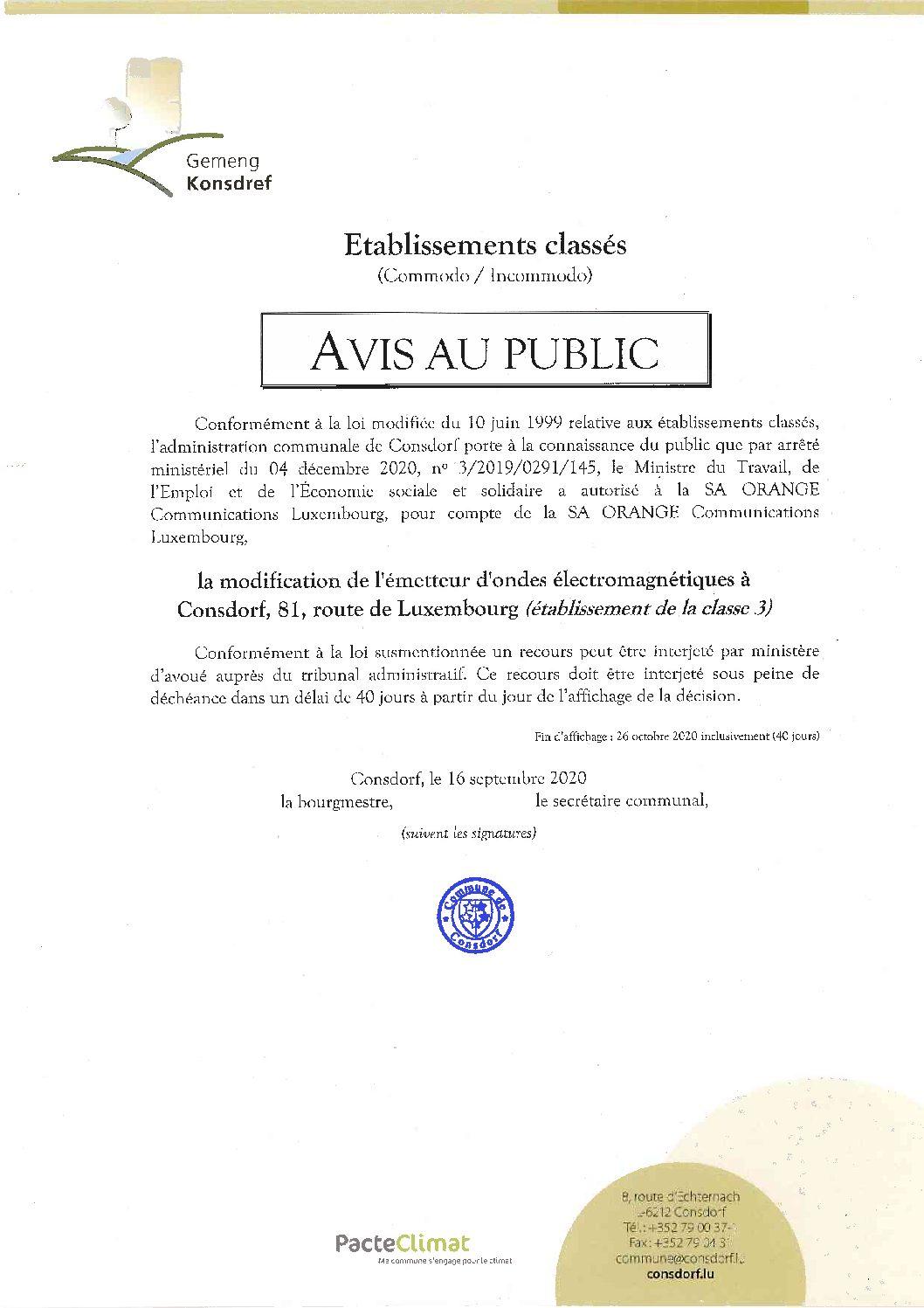 Avis au public - Autorisation modification de l'émetteur d'ondes électromagnétiques à Consdorf