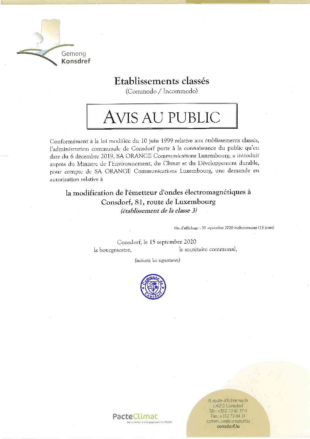 Avis au public - Demande modification de l'émetteur d'ondes électromagnétiques à Consdorf