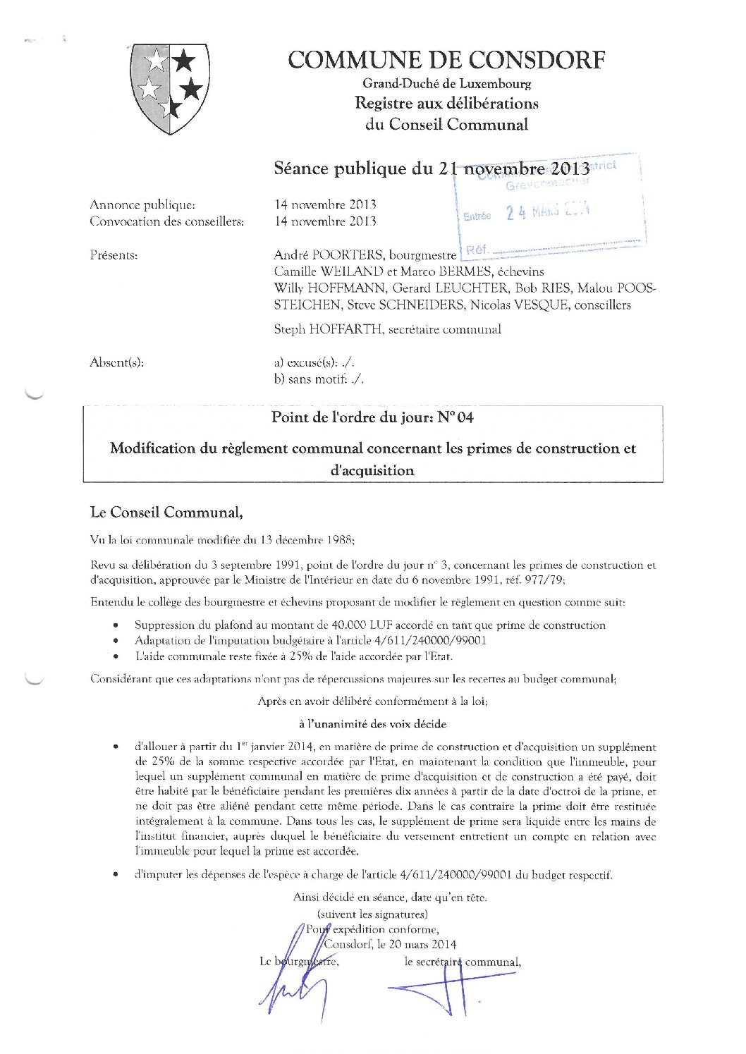 Primes de construction et acquisition