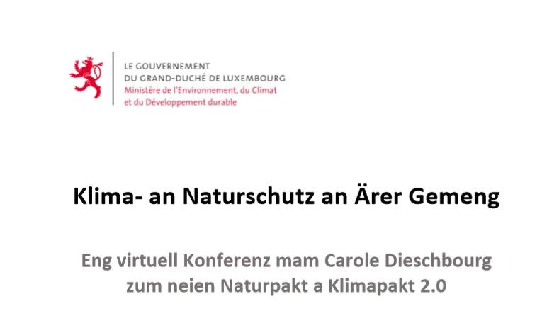 Présentation virtuelle du nouveau Pacte Nature et du Pacte Climat 2.0