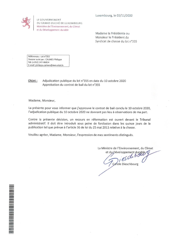 Chasse approbation contrat de bail du lot N° 355