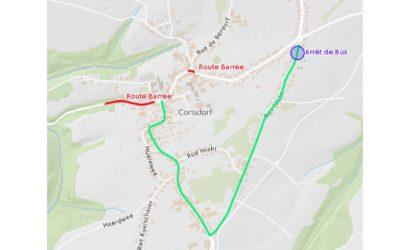 Avis  –  « Rue du Mullerthal » entre Consdorf et Consdorf-Moulin et « Route d'Echternach » à Consdorf barrée