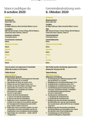 2020-10-06 Rapport de la séance du Conseil Communal