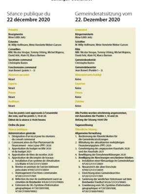 2020-12-22 Rapport de la séance du Conseil Communal