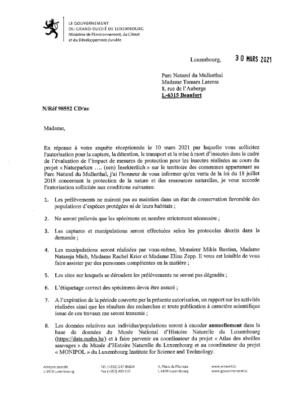 Notification de decision pour le dossier 98552 : Derogation en vertu de l'article 28 pour le suivi d'insectes