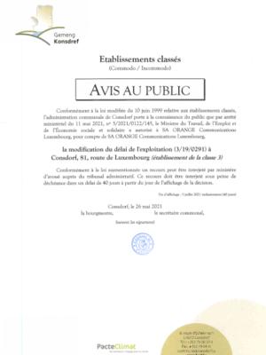 Avis au public - Modification du délai de l'exploitation (3-19-0291) à Consdorf, 81, route de Luxembourg