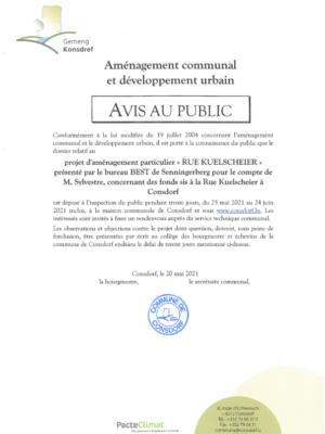 Avis au public - PAP « RUE KUELSCHEIER » présenté par le bureau BEST de Senningerberg pour le compte de M. Sylvestre, concernant des fonds sis à la Rue Kuelscheier à Consdorf
