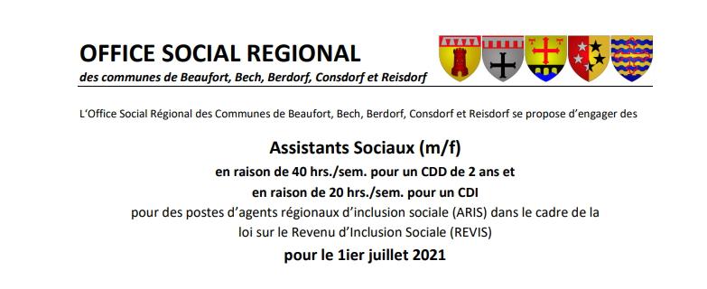 L'Office social régional recrute