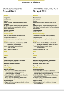 2021-04-29 Rapport de la séance du Conseil Communal