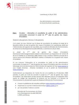 Consultation du public et des administrations  communales concernant le projet du 2ième plan de gestion des risques  d'inondation