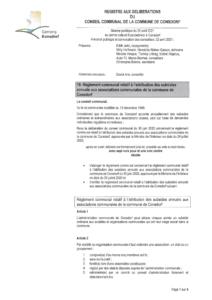 Règlement concernant l'attribution des subsides annuels aux associations