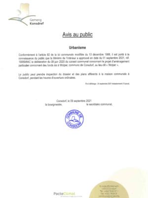 20210909 - Avis au public - MI - Approb PAP WOLPER - 19069-84C