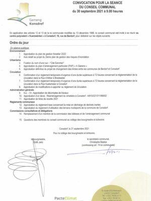 Convocation pour la séance du Conseil communal du 30 septembre 2021