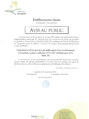 Avis au public – 3A/2021/2425/174 Exploitation d'une potence pivotable muni d'un treuil manuel