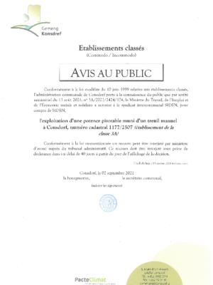 Avis au public – 3A/2021/2424/174 Exploitation d'une potence pivotable muni d'un treuil manuel