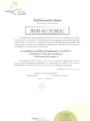 Avis au public - Modification du délai de l'exploitation (3/19/0291)
